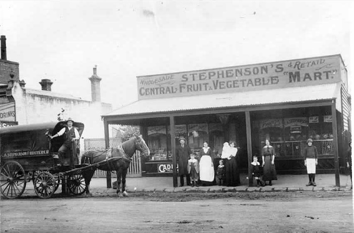 Image - photo - Stephenson's shop and cart.